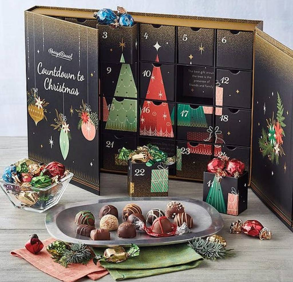 harry and david advent calendar with truffles on plate