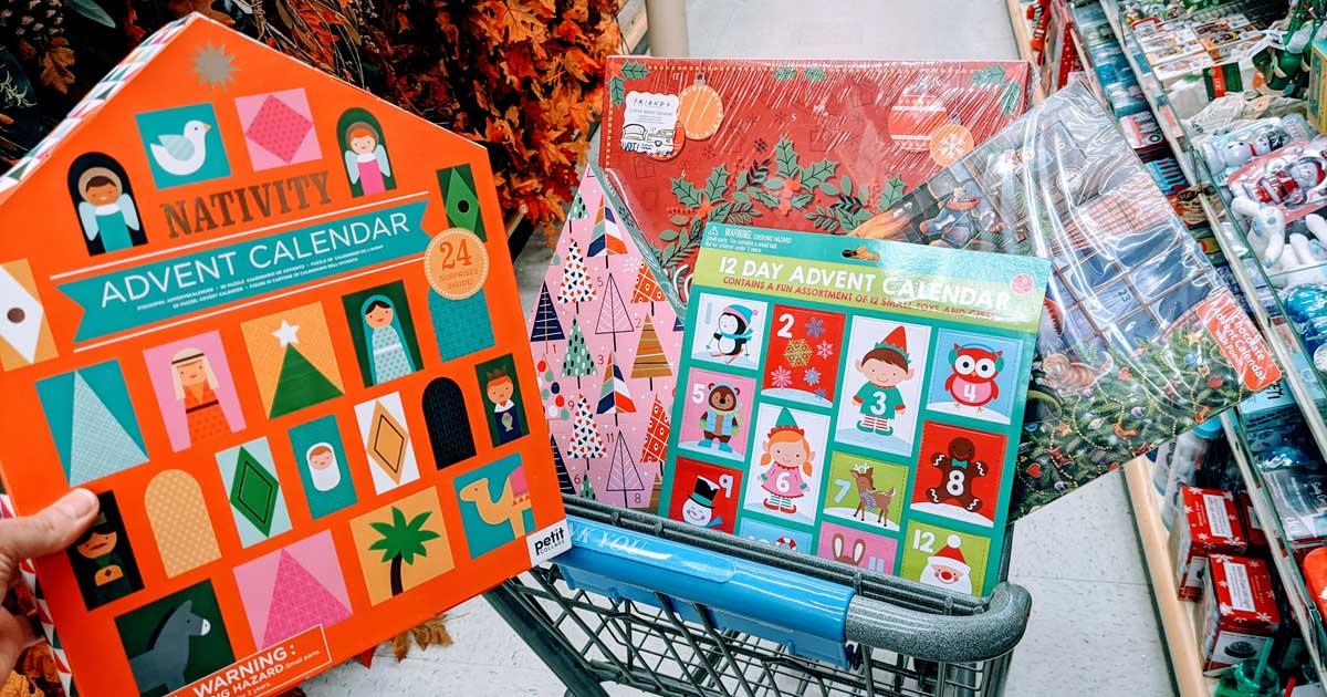 advent calendars in a cart in a store