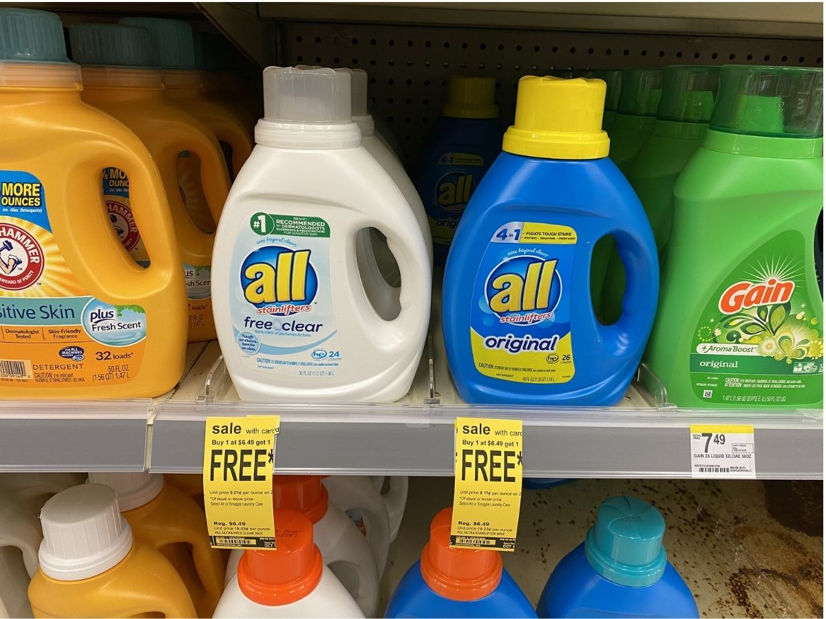 2 bottles of all dergent on store shelf between arm and hammer and gain