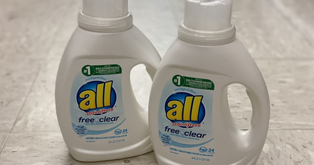 two bottles of all liquid laundry detergent