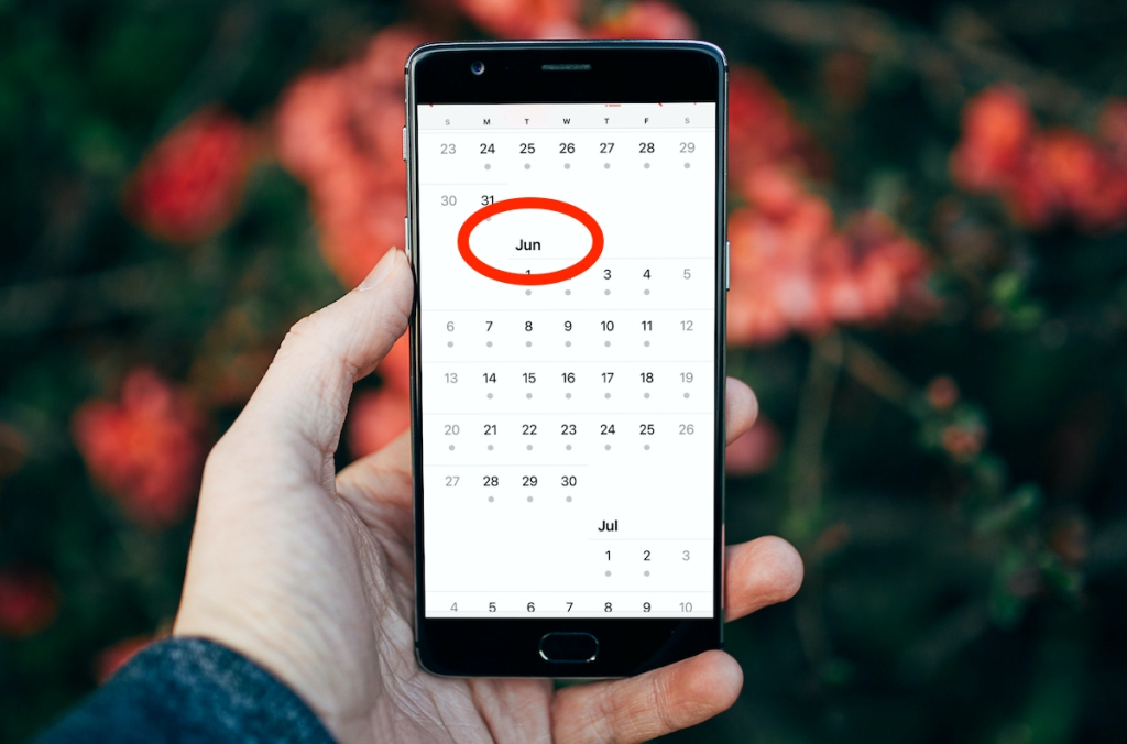 hand holding phone with June calendar on screen