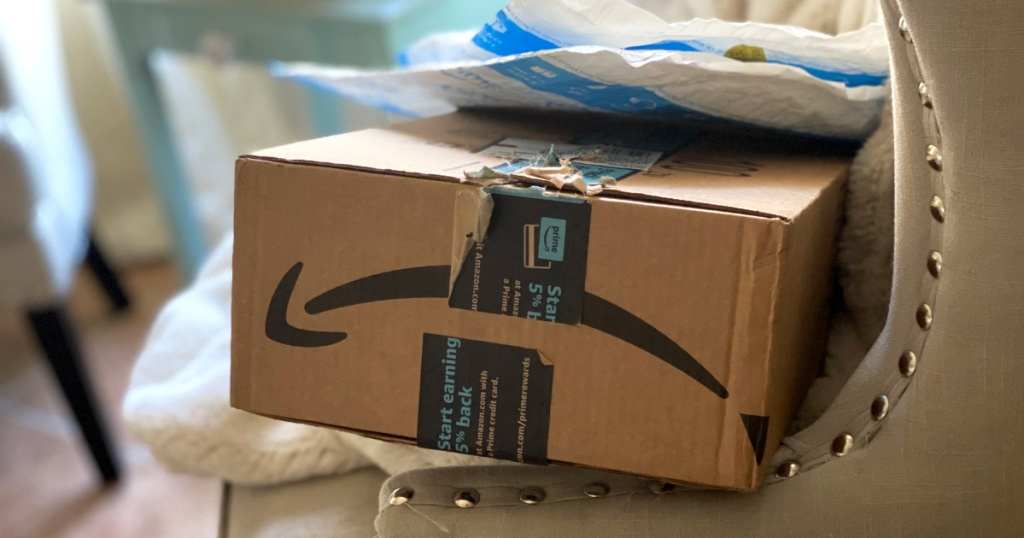 amazon packages on chair