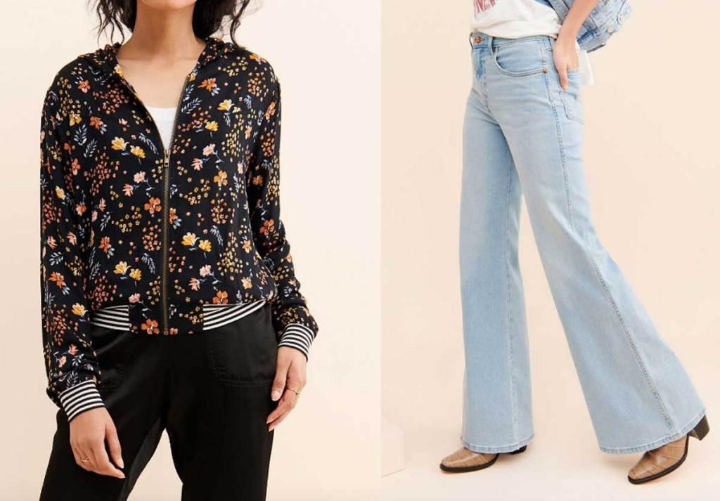 models wearing floral hoodie and jeans