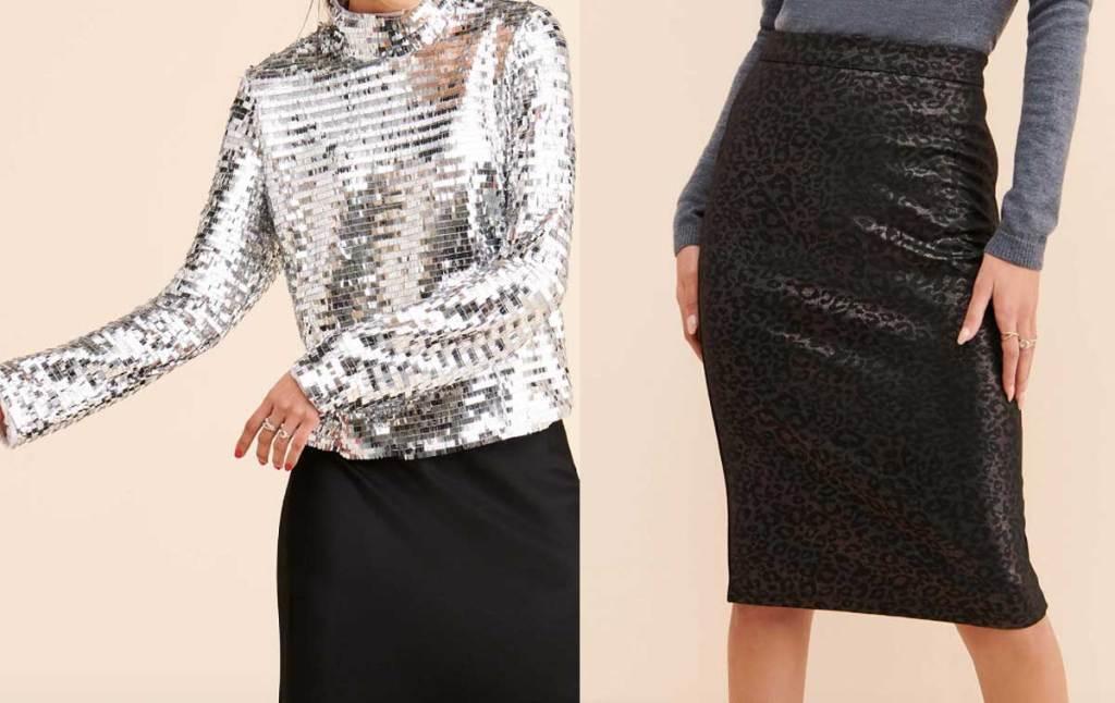 models wearing silver shirt and skirt