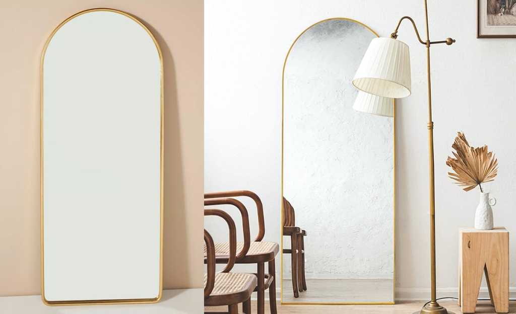 two gold arch floor length mirrors in rooms - anthropologie dupes