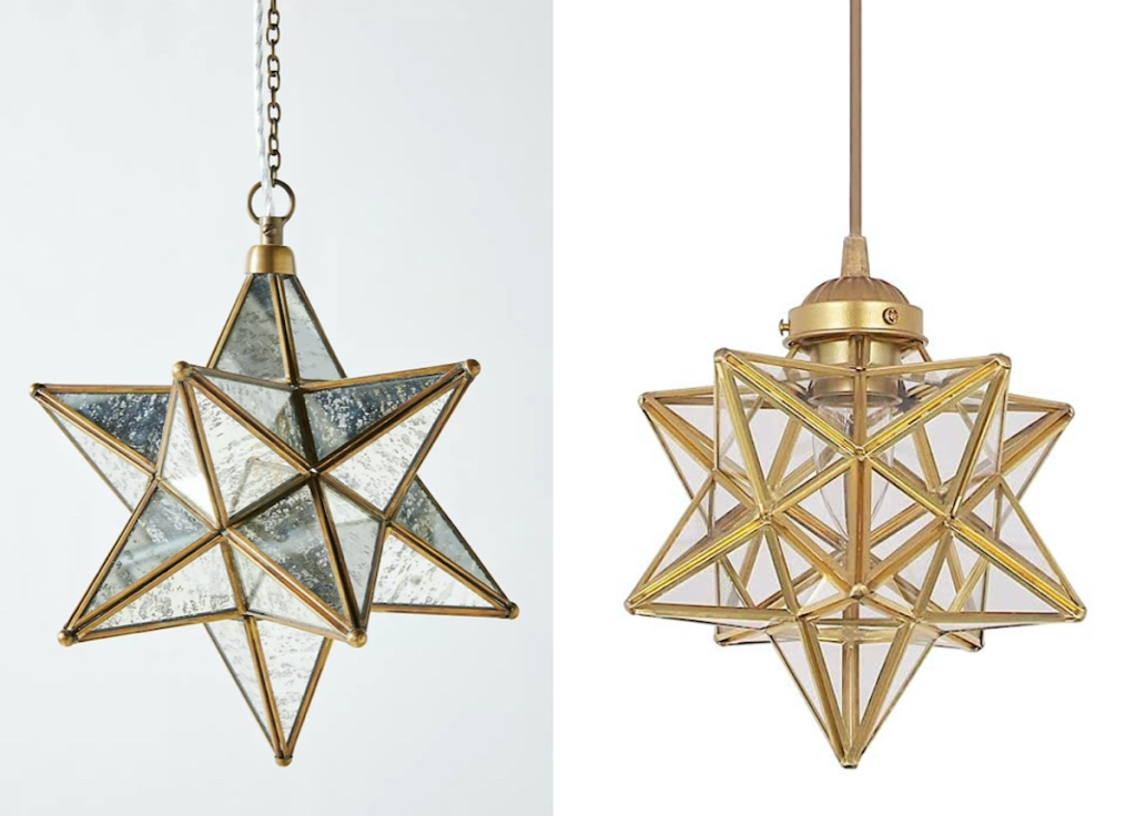 side by side stock photos of brass star pendant lights