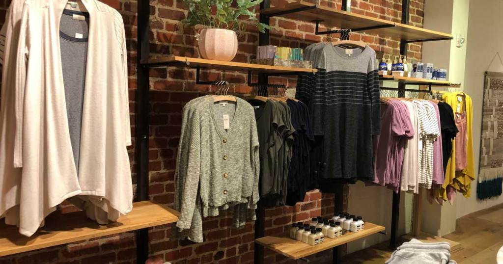 women's clothing on display in store