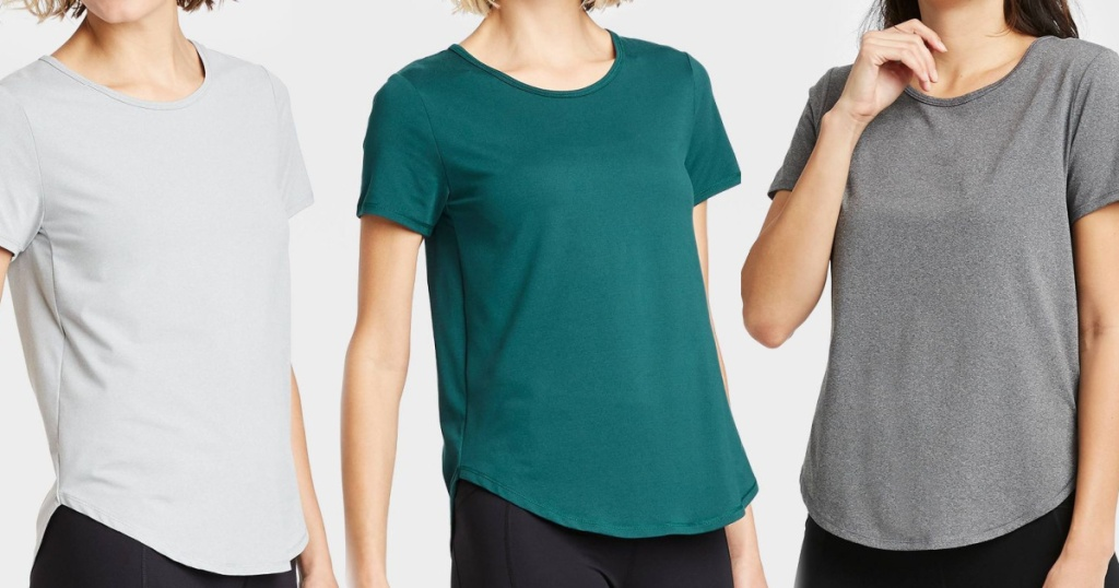 athletic tees at target in three colors