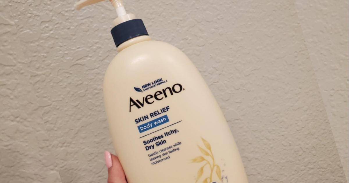 aveeno body wash in hand