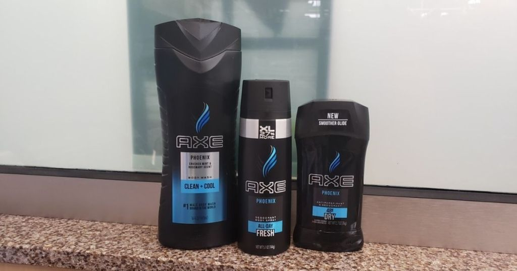 three Axe body products on a shelf