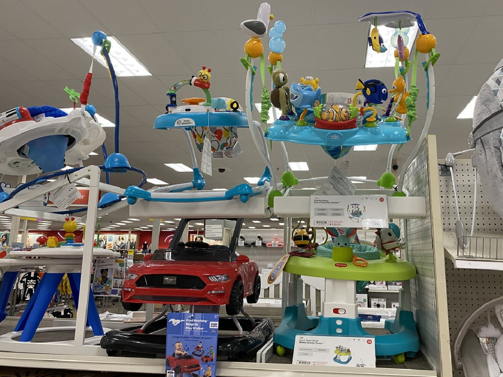 store with baby walkers on display