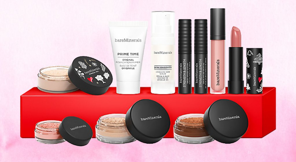 bareMinerals 10-piece holiday gift set with products on top of a red gift box