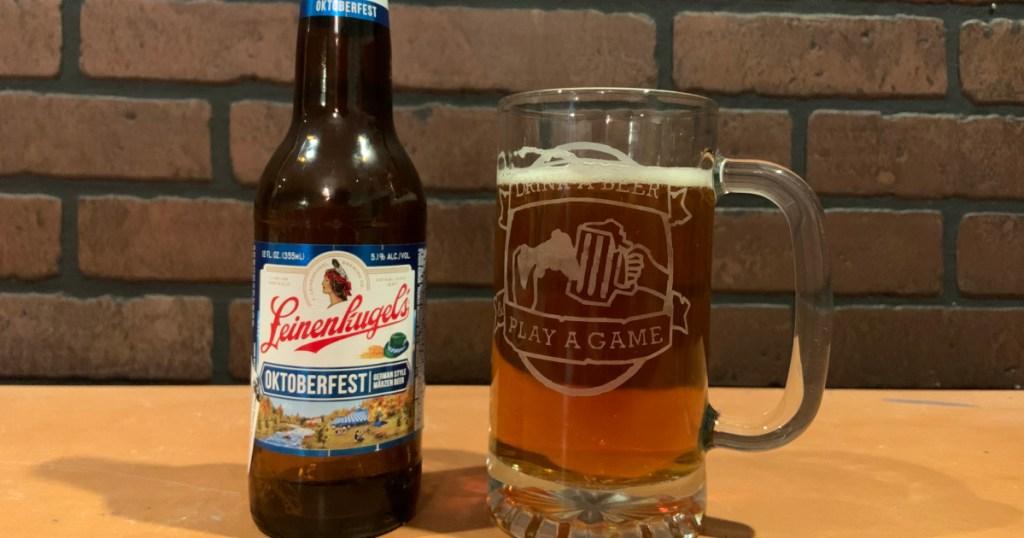 beer bottle and mug leinenkugels