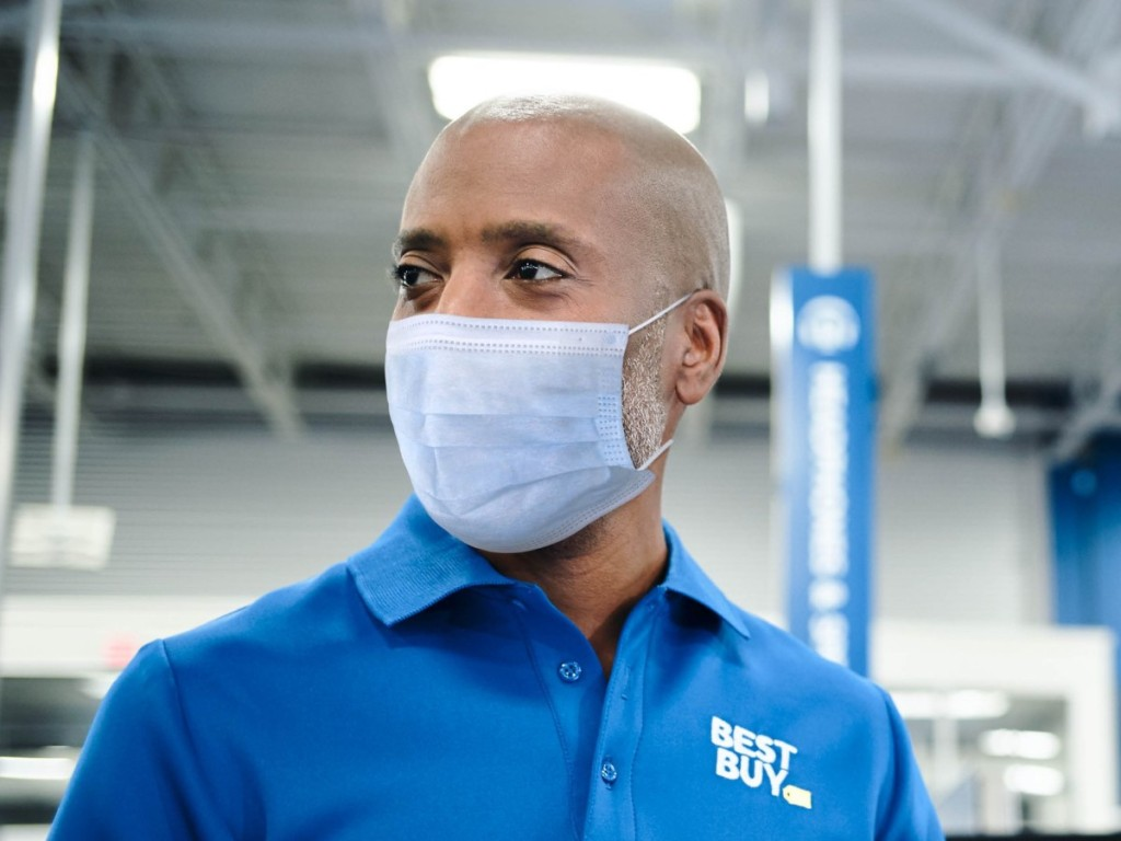 masked Best Buy employee
