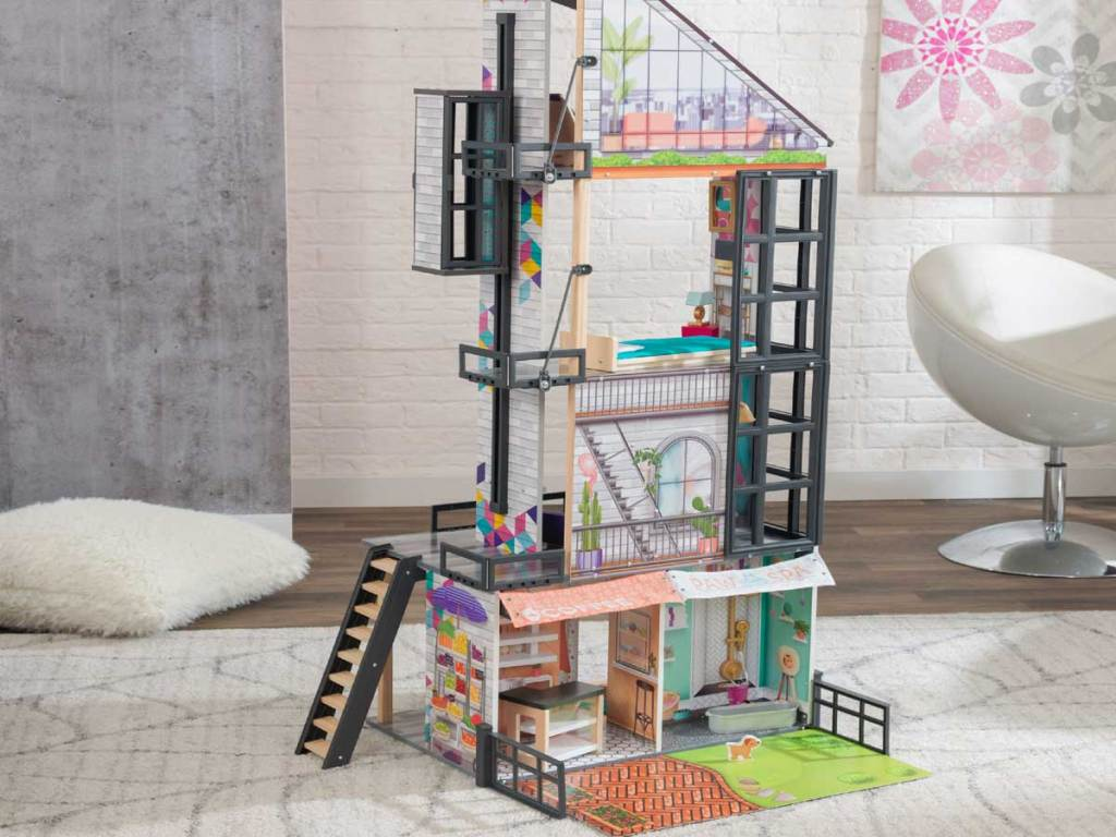 big dollhouse in a living room