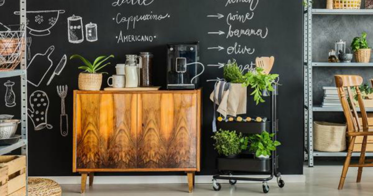 wall with black chalkboard wallpaper covered with writing