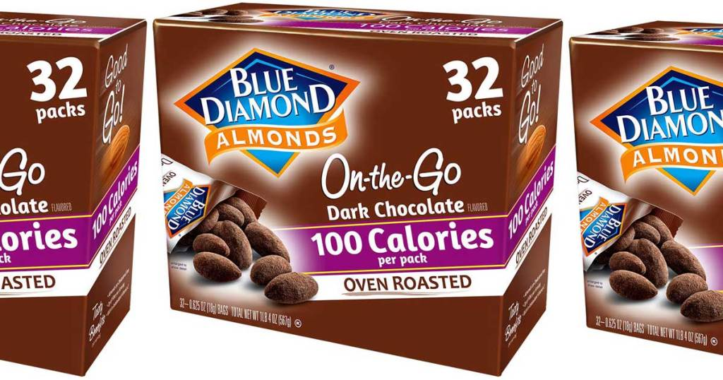 stock image of box of almonds