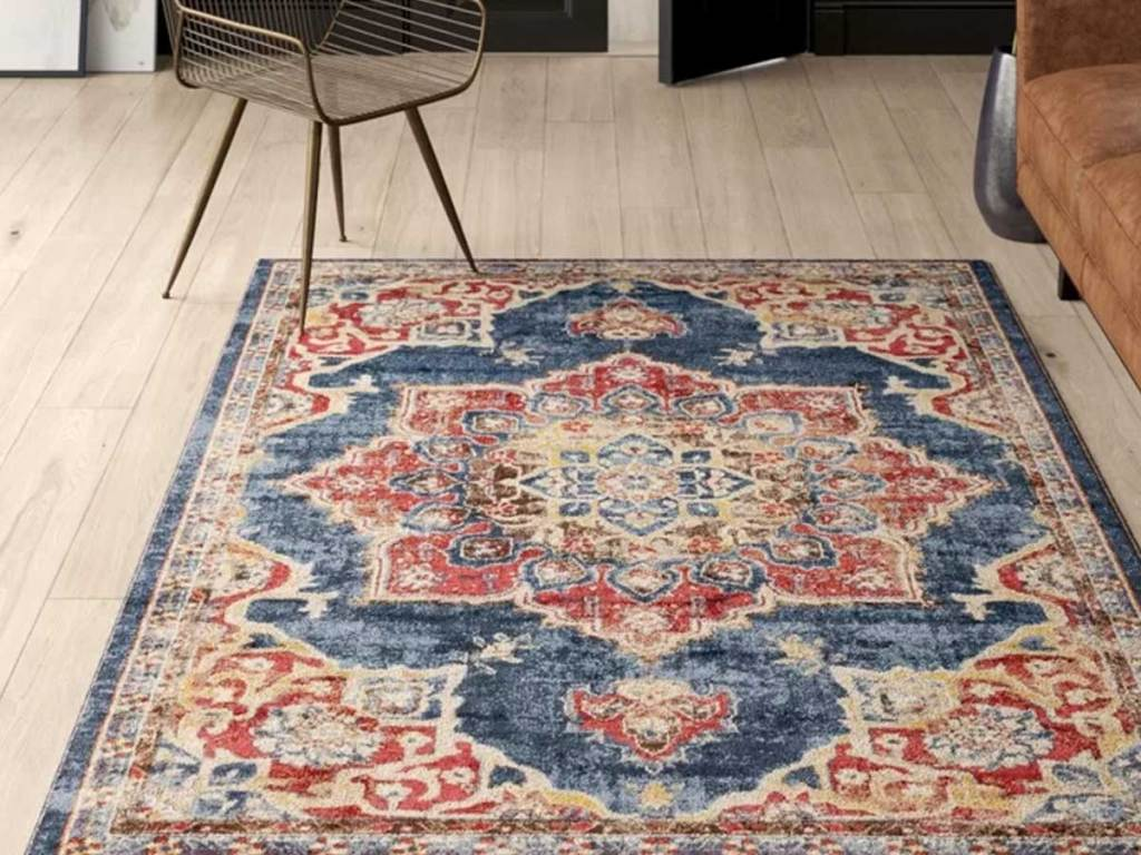blue oriental rug in a living room