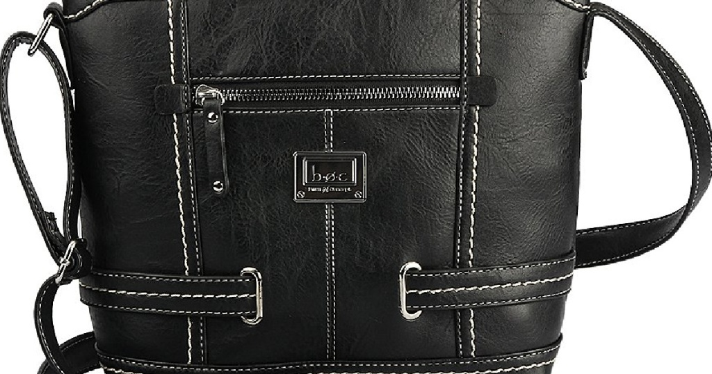 """black purse up close with straps and logo """"doc"""""""