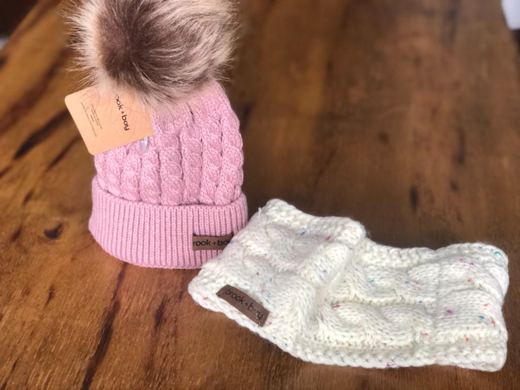 brook + bay headwear pink beanie and white headband