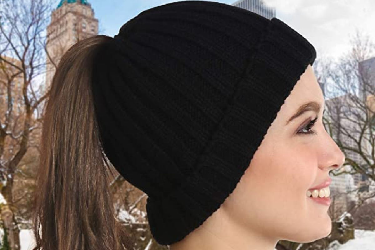 brook + bay ponytail beanie black beanie with hair pulled through