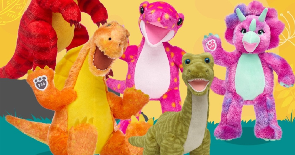 many stuffed build a bear dinosaurs