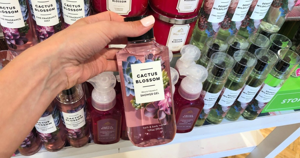 cactus blossom shower gel in woman's hand at bath and body works