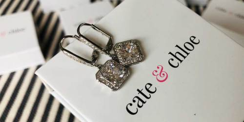 Cate & Chloe 18K White Gold Plated Drop Earrings Just $15 Shipped