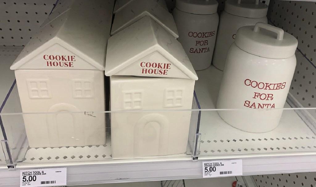 ceramic cookie jars on shelf at target