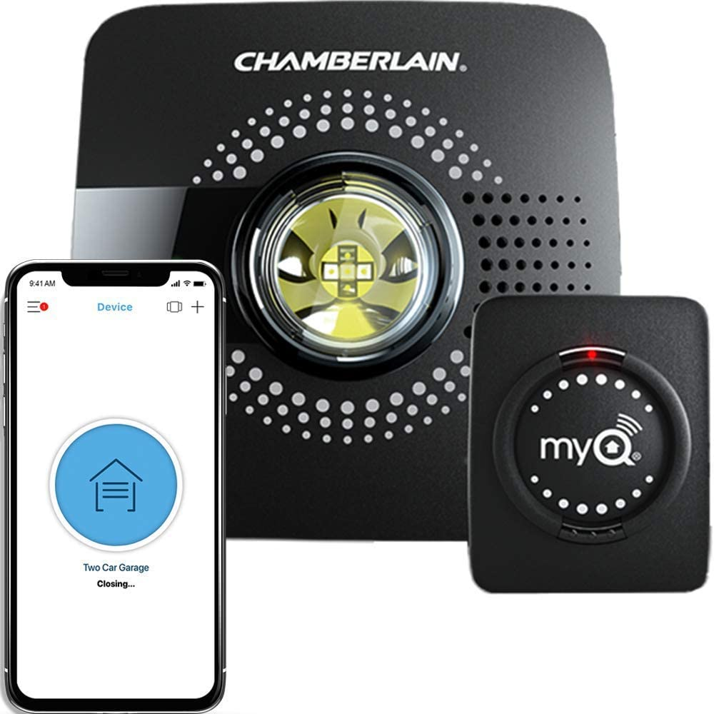chamberlain smart garage door opener with phone and sensor