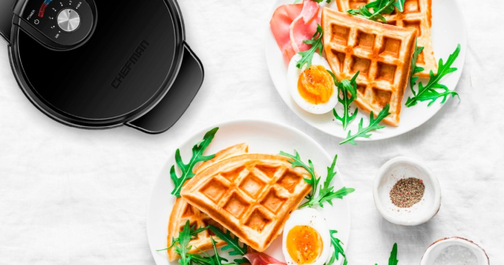 chefman waffle maker with waffles on plates