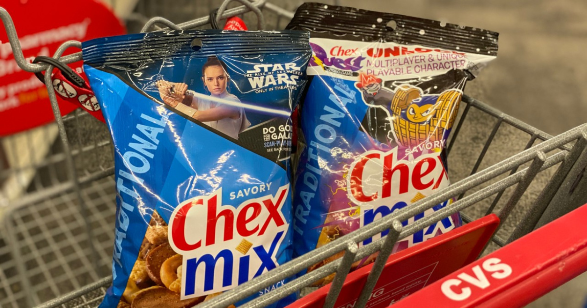 grocery cart with 2 snack size bags of Chex Mix in it