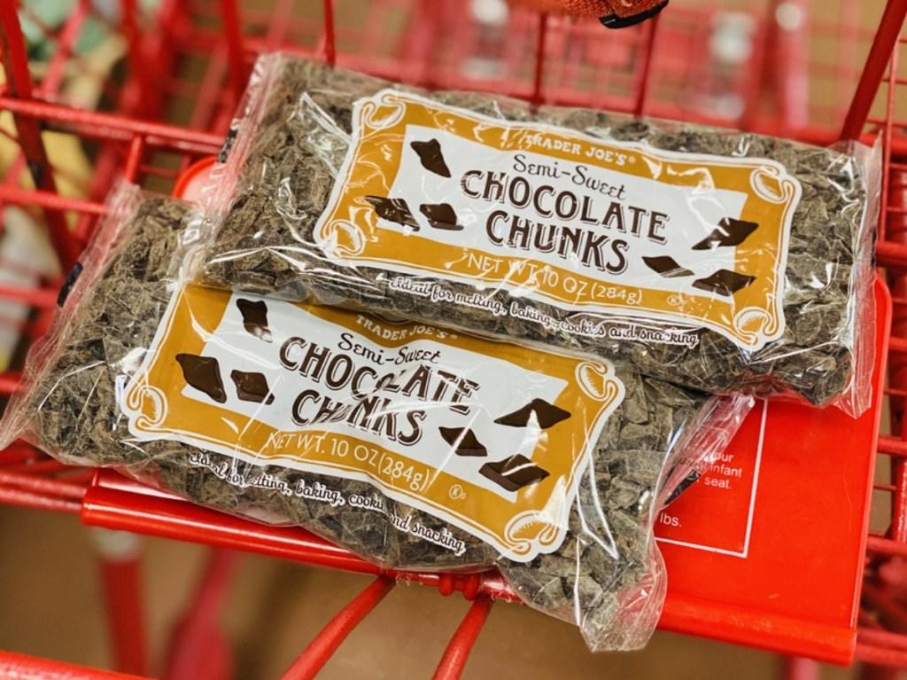Chocolate Chunks in shopping cart at Trader Joe's