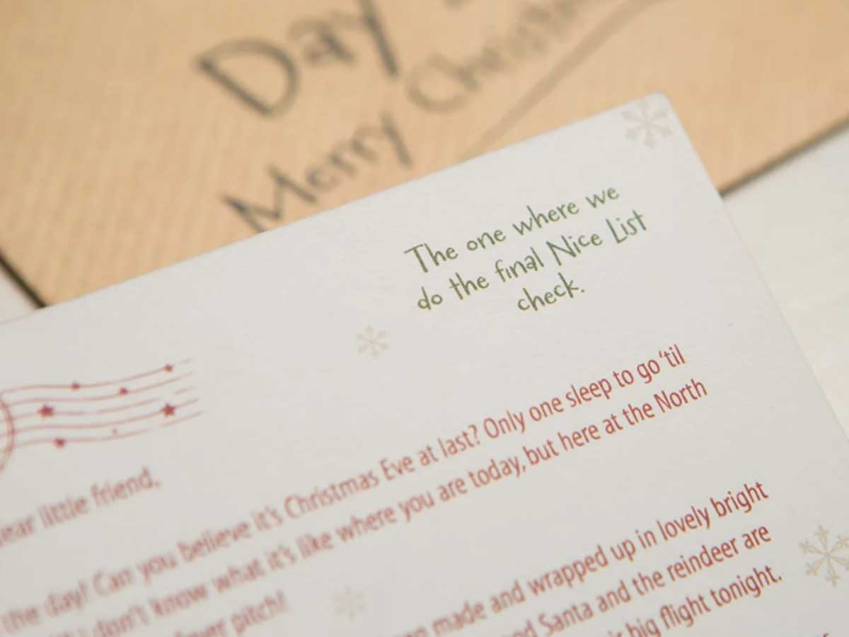 close up of advent letter with envelop in background