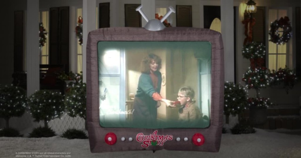 inflatable TV showing scene from A Christmas Story