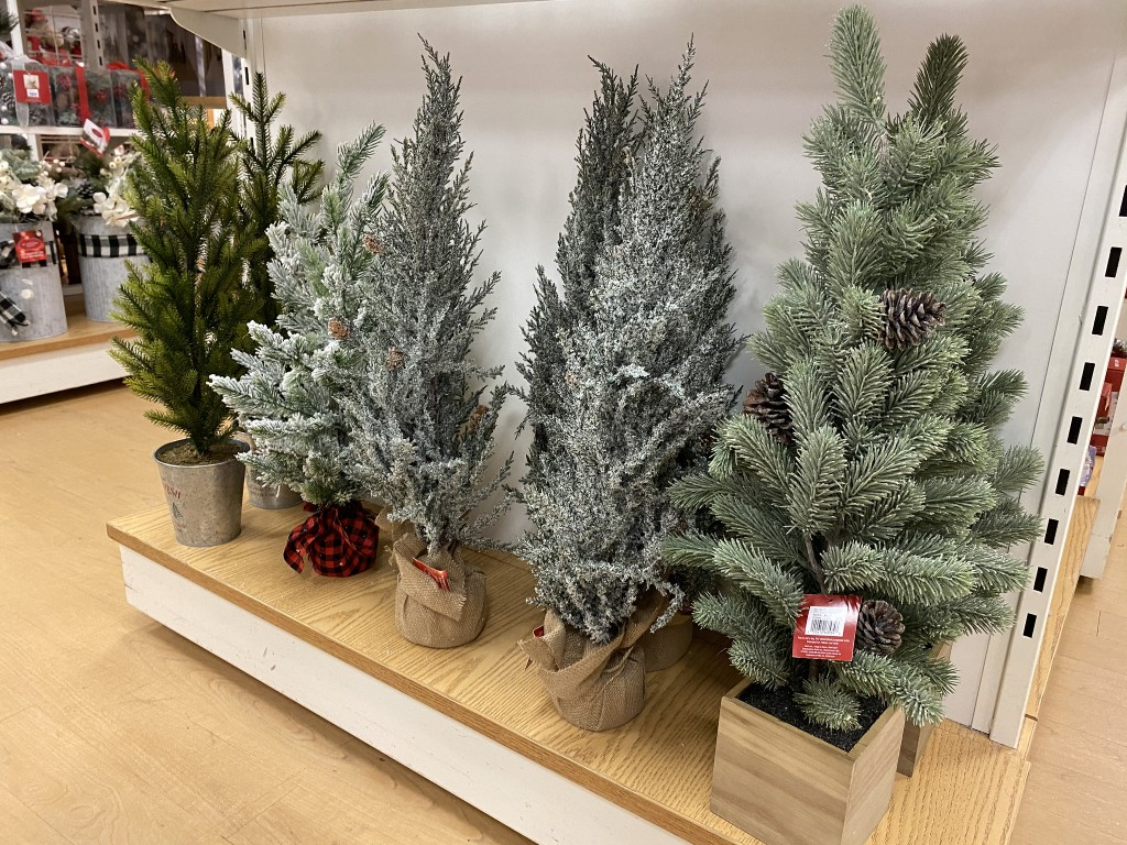 christmas trees in store at kohls