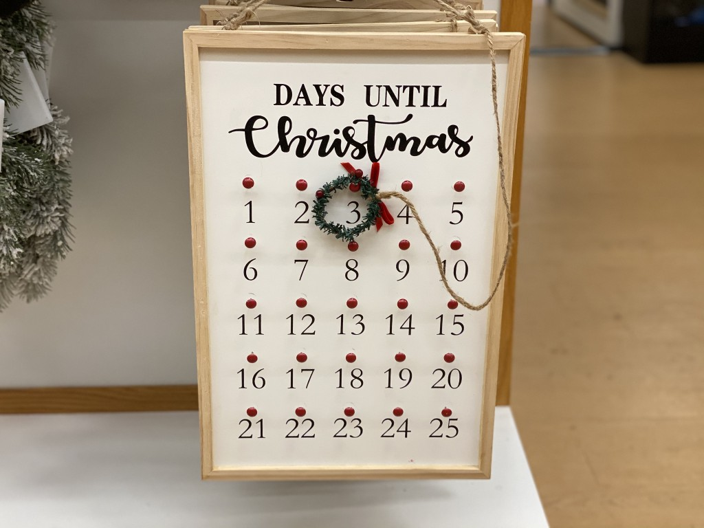 countdown to christmas wall sign in store at kohls
