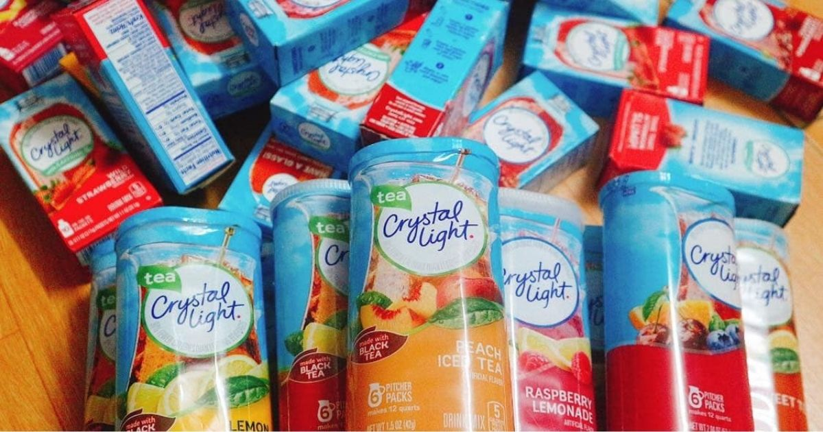 Crystal Light beverages in a pile