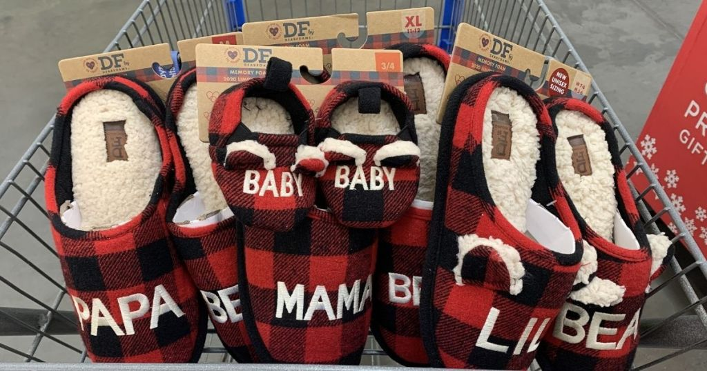 Dearfoams matching red and black plaid slippers in shopping cart