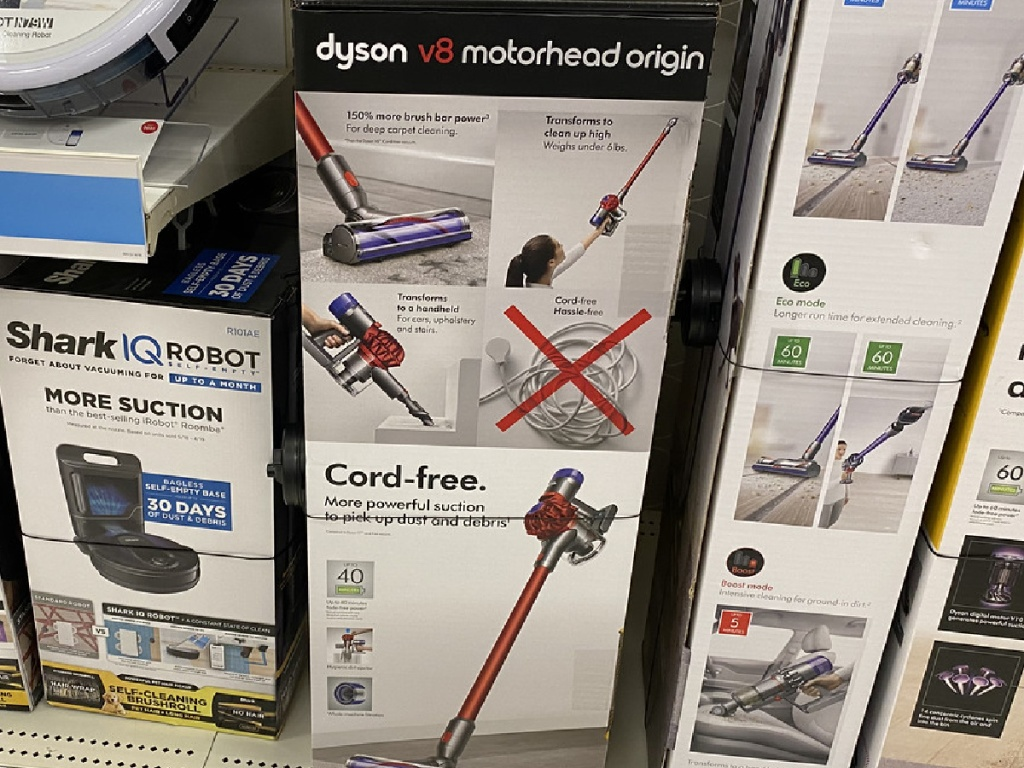 vacuum cleaner in box on store shelf