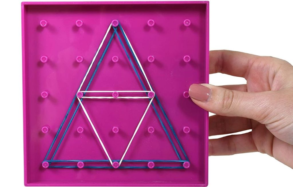 hand holding a geoboard