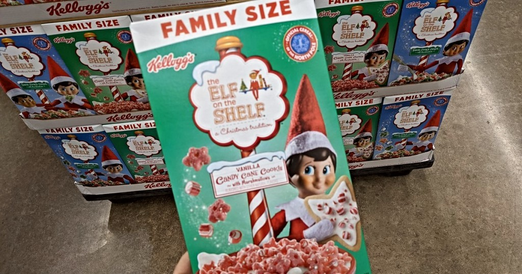 holding Elf on the Shelf Peppermint cereal