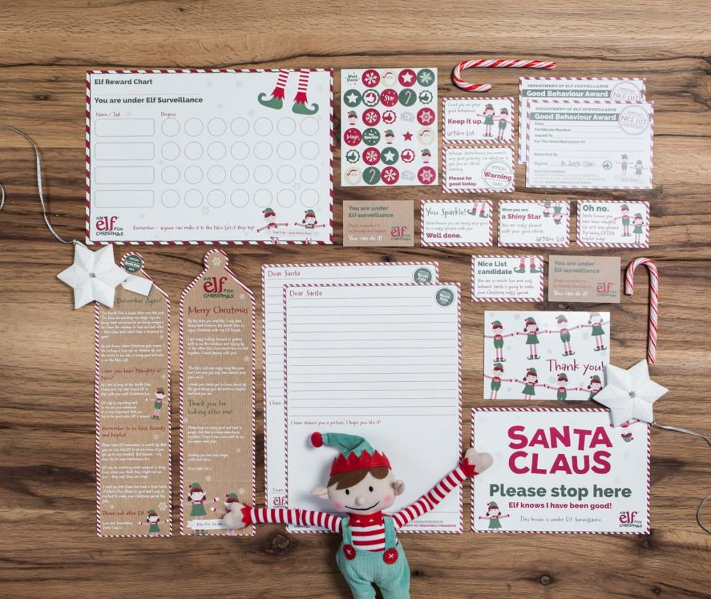 elf reward set all pieces laid out with elf