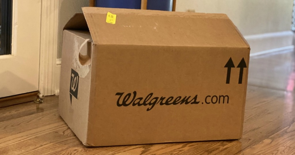 empty walgreens box sitting on the floor