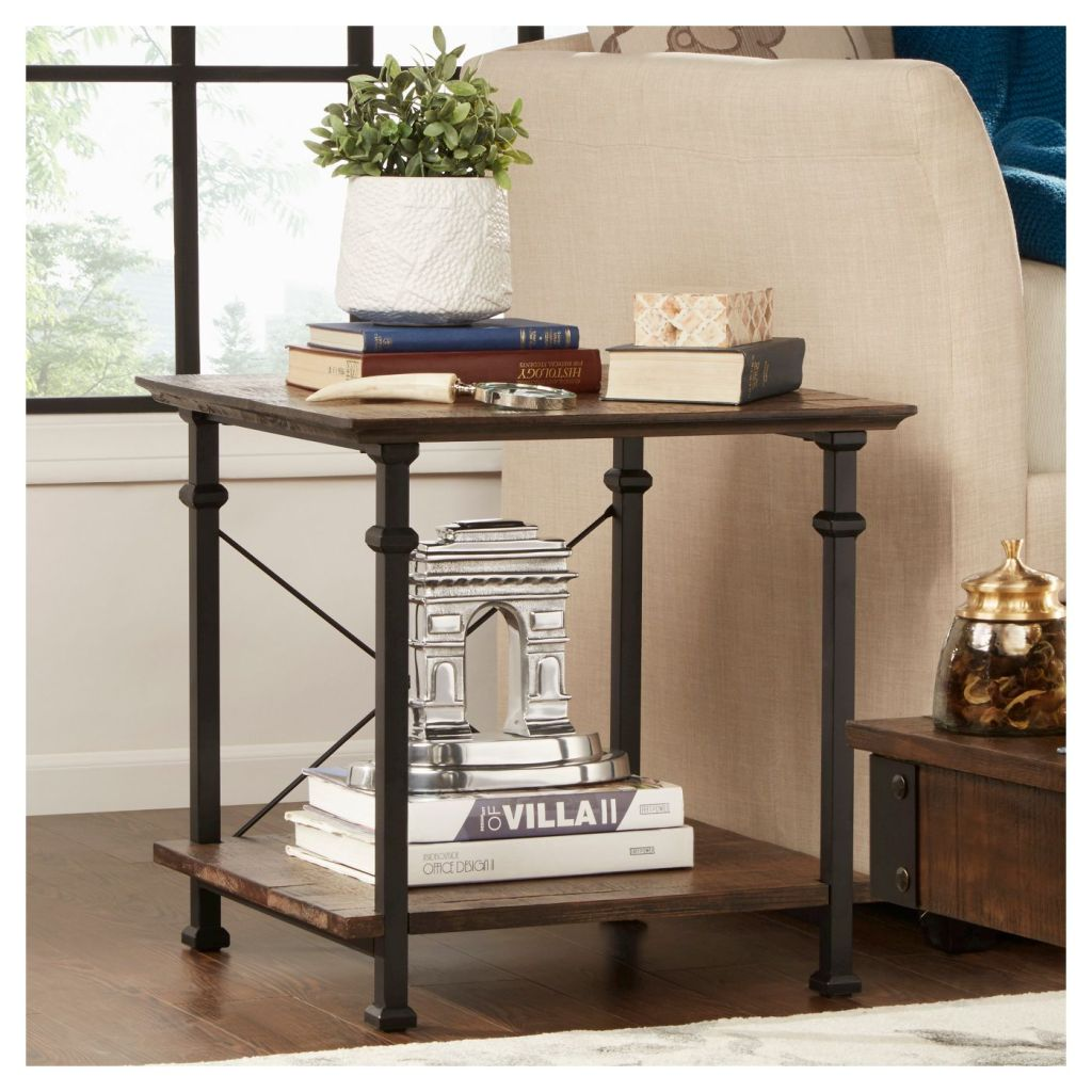 metal and wood end table near couch