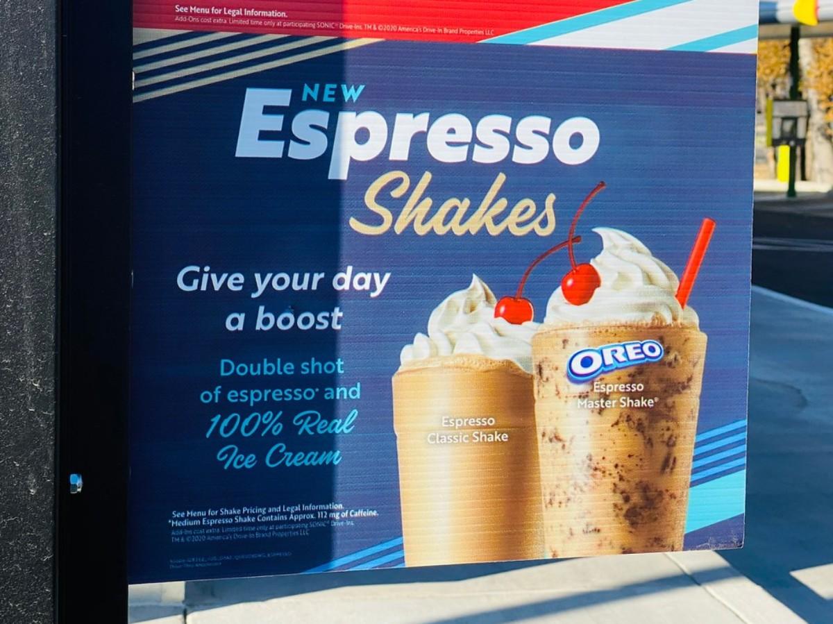 espresso shake sign in Sonic drive-thru