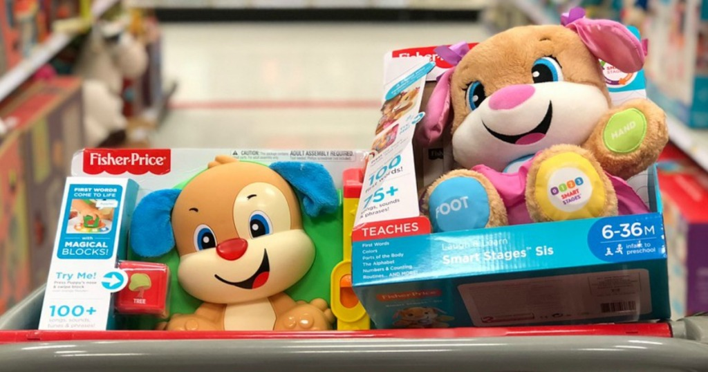cart with fisher price smart stages puppy and sis