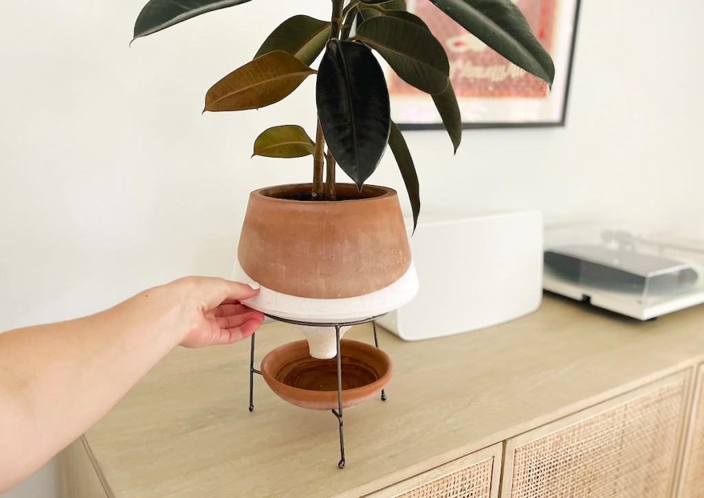 hand holding edge of color block funnel planter