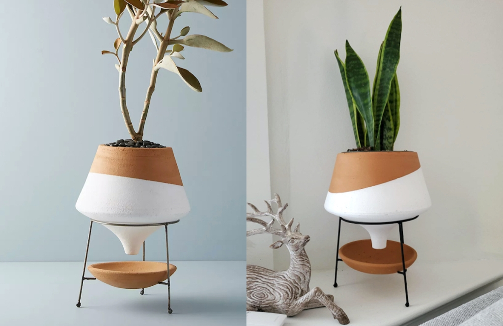 side by side of white and brown color block planter - anthropologie dupes