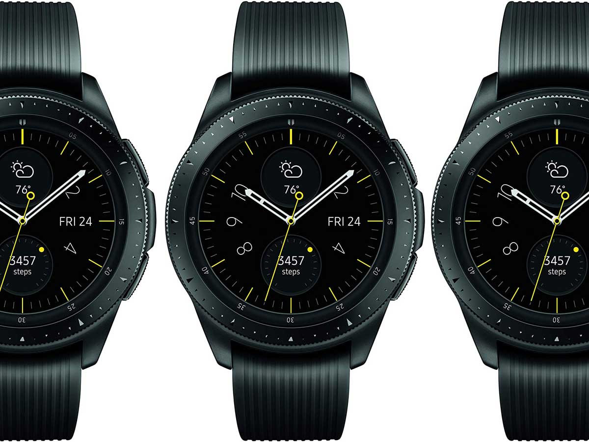 stock images of three black smart watches in a row